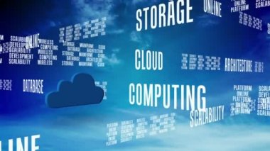 Cloud computing words scrolling on blue sky — Stock Video