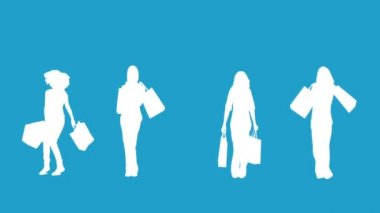 Silhouettes of women with her shopping on blue background — Stock Video
