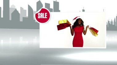 Sale advertisement with woman holding shopping bag — Stock Video