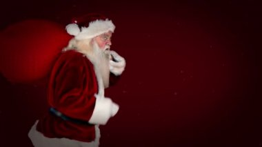 Santa delivering presents with christmas message — Stock Video