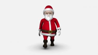 Cartoon Santa walking on white background — Stock Video