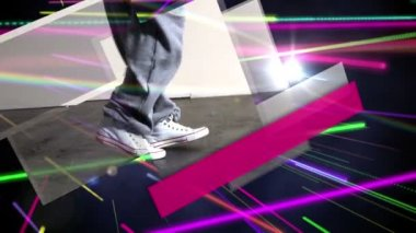 Bright colourful laser beams shining — Stock Video