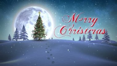 Merry Christmas message appearing in snowy landscape — Stock Video