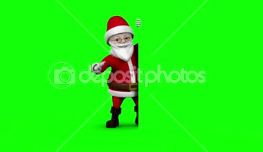 Cartoon santa presenting on green screen background — Stock Video
