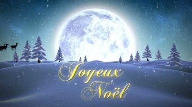 Joyeux noel message with flying santa — Stock Video