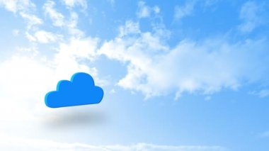Cloud computing graphic against blue sky — Stock Video