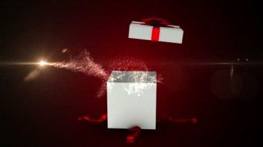 Present opening to reveal christmas tree design — Vídeo de stock