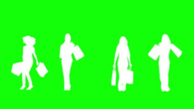 Silhouettes of women with her shopping on green background — Stock Video