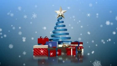 Snowflakes falling on christmas tree and gifts — Video Stock