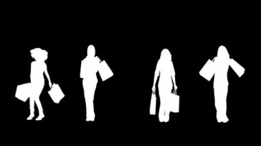 Silhouettes of women with her shopping on black background — Stock Video