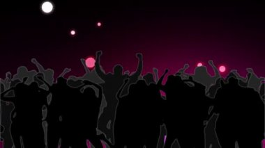 Dancing crowd with glowing circles of pink light falling — Vídeo de stock