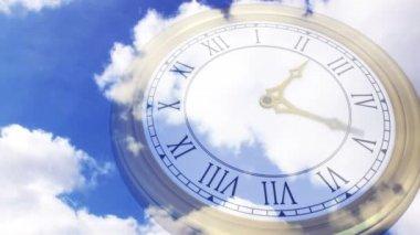 Clock ticking against blue sky — Stock Video