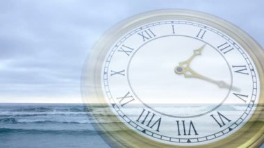 Clock ticking against tide coming in — Stock Video