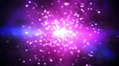 Purple shimmering hearts on black background — Vídeo Stock