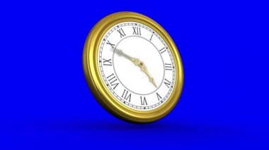 Ticking clock on blue background — Stock Video