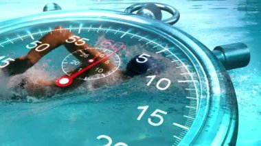 Stopwatch graphic over swimmer — Stock Video