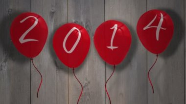 2015 balloons against wooden planks — Stock Video