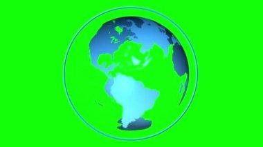 Blue globe spinning — Stock Video