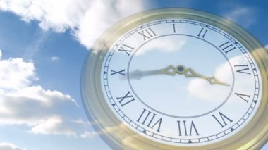 Roman numeral clock over blue sky — Stock Video