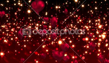 Red hearts floating against glittering background — Stock Video