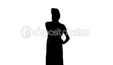 Woman talking on phone in black silhouette — Stock Video