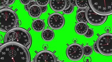 Stopwatches falling on green background — Stock Video