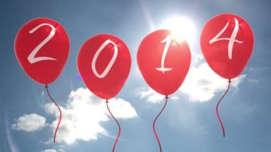 2015 balloons against blue sky — Stock Video