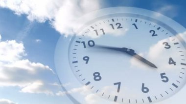 Ticking clock over blue sky — Stock Video