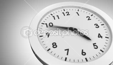 Ticking clock on grey background — Stock Video