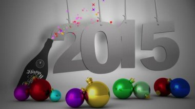 2015 hanging with decorations — Vídeo de stock