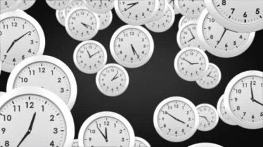 Falling clocks on black  background — Vídeo de stock