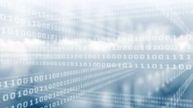 Binary code grid on sky background — Stock Video