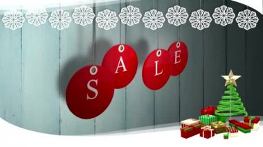 Red sale tags hanging against wood with festive border — Stock Video