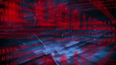 Binary code grid on dark background — Stockvideo