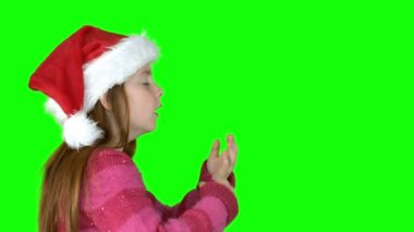 Festive girl blowing — Stock Video