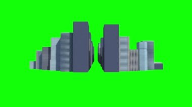 Cityscape on green background — Stockvideo