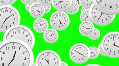 Falling clocks on green background — Vídeo de stock