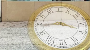 Roman numeral clock over busy street — Stock Video