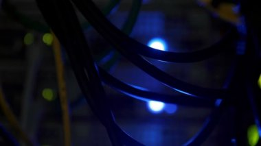 Blue light in server close up — Stock Video