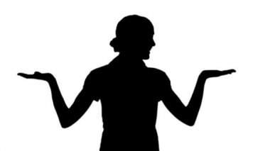 Woman making a choice in black silhouette — Stock Video