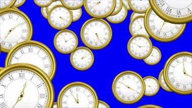 Falling clocks on blue background — Stock Video