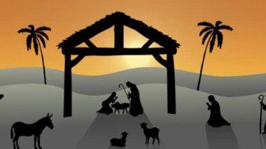 Nativity scene with rising sun — Vídeo de stock