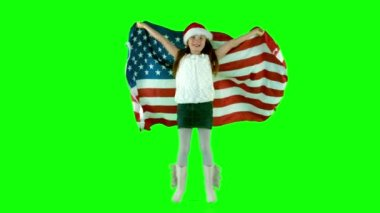 Festive little girl with usa flag — Stock Video