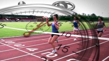 Stopwatch graphic over race winner — Stock Video