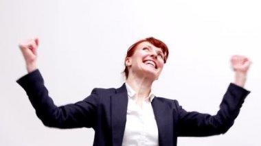 Businesswoman cheering — Stock Video