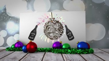 New years graphic on poster with decorations — Stock Video
