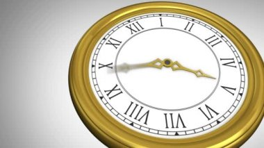 Ticking clock on grey background — Stock Video