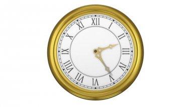Golden roman numeral clock ticking — Stock Video