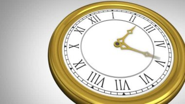 Golden roman numeral clock ticking — Stock Video