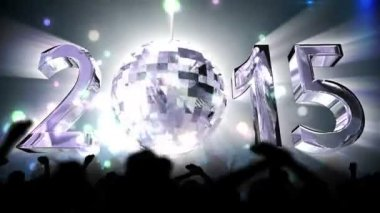 2015 with spinning disco ball — Stock Video